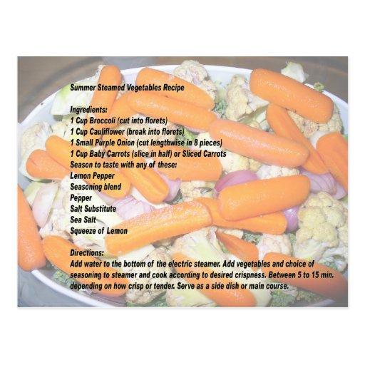 Postal vegetal cocida al vapor verano de la receta