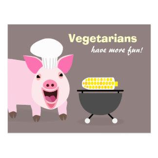 Postal vegetariana del cerdo