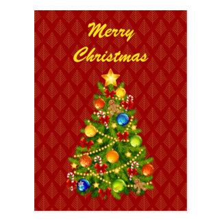 Postal verde del árbol de navidad