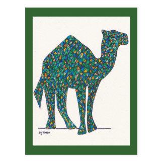 Postal verde del camello del vitral