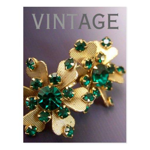 Postal verde del diamante artificial del vintage