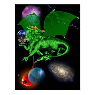 Postal verde del dragón del universo