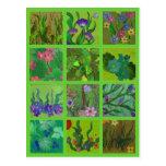 Postal verde floral de las impresiones de la natur