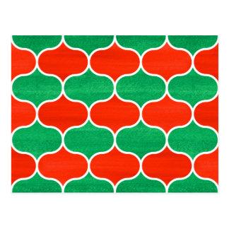 Postal verde roja del modelo de Ogee del navidad
