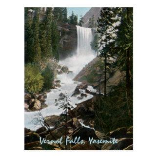 Postal vernal de Yosemite del vintage de las caída