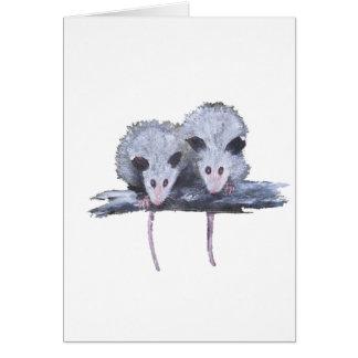 "Postal vertical de ""dos oposums"" tarjetón"