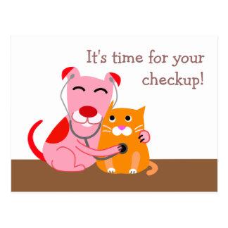 Postal veterinaria del recordatorio del chequeo