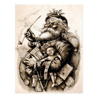 Postal vieja alegre de Papá Noel