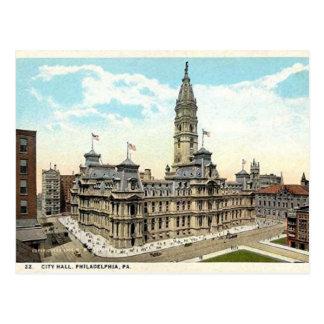 Postal vieja de ayuntamiento de Philadelphia
