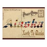 Postal vieja de la apariencia vintage con Alaska