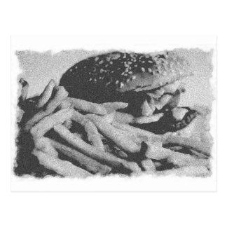 Postal vieja de la foto de la hamburguesa del vint