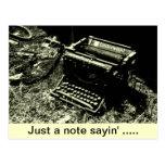 postal vieja de la máquina de escribir