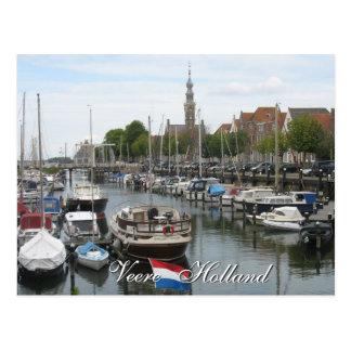 Postal vieja de Zelanda Holanda del puerto de Veer