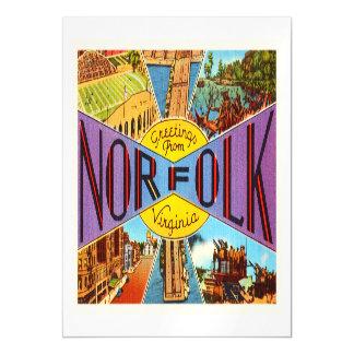 Postal vieja del viaje del vintage de Norfolk Invitaciones Magnéticas