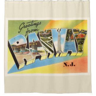 Postal vieja del viaje del vintage de Rahway New Cortina De Baño