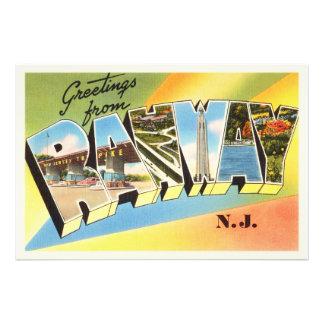 Postal vieja del viaje del vintage de Rahway New Fotografía