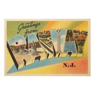 Postal vieja del viaje del vintage de Rahway New Impresiones En Madera