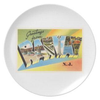 Postal vieja del viaje del vintage de Rahway New Plato Para Fiesta