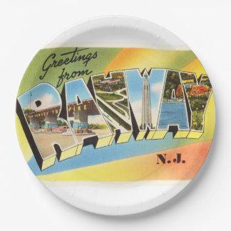Postal vieja del viaje del vintage de Rahway New Platos De Papel