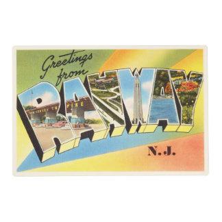 Postal vieja del viaje del vintage de Rahway New Salvamanteles