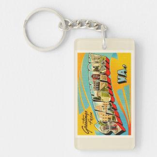 Postal vieja del viaje del vintage de Staunton Llavero Rectangular Acrílico A Doble Cara