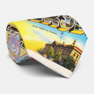 Postal vieja del viaje del vintage del estado NJ Corbatas Personalizadas