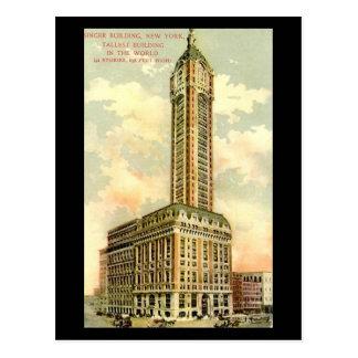 Postal vieja - edificio del cantante, New York Cit