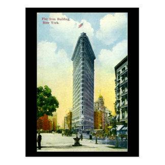 Postal vieja, edificio plano del hierro, New York