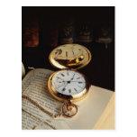 Postal vieja elegante del reloj
