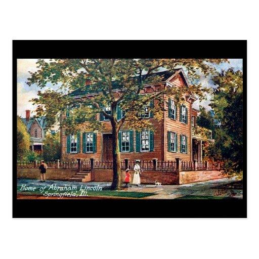 Postal vieja - la casa de Lincoln, Springfield, en