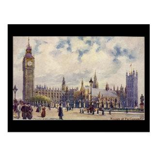 Postal vieja - Londres, casas del parlamento