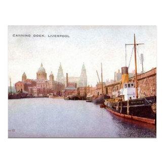 Postal vieja - muelle de enlatado, Liverpool