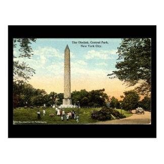 Postal vieja - obelisco, Central Park, NYC, 1917
