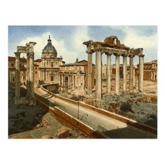 Postal vieja Roma el foro y templo de Saturn
