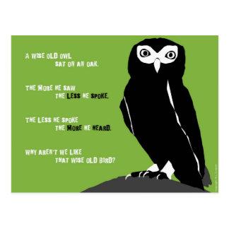 Postal vieja sabia del búho en verde