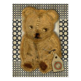 Postal vieja triste del oso de peluche del vintage