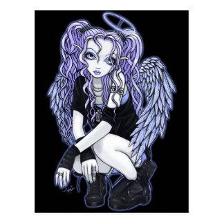 Postal violeta gótica de la hada del ángel de Ange
