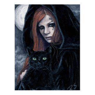 Postal Witching gótica del gato de la hora