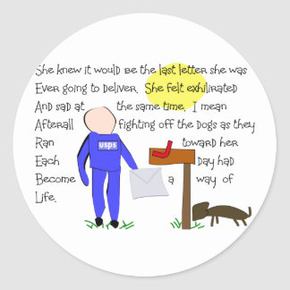 Postal Worker Missing The Dogs-Story Art Classic Round Sticker