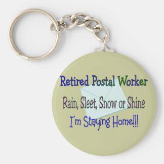 """Postal Worker Rain Sleet Snow """"STAYING HOME"""" Basic Round Button Keychain"""