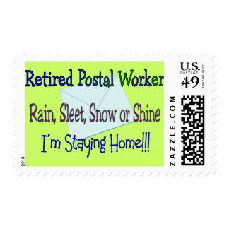 "Postal Worker Rain Sleet Snow ""STAYING HOME"" Postage Stamp"