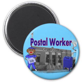 Postal Worker Sock Monkey Fridge Magnet