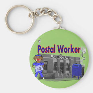Postal Worker Sock Monkey Basic Round Button Keychain