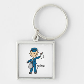 Postal Worker Stick Figure Silver-Colored Square Keychain