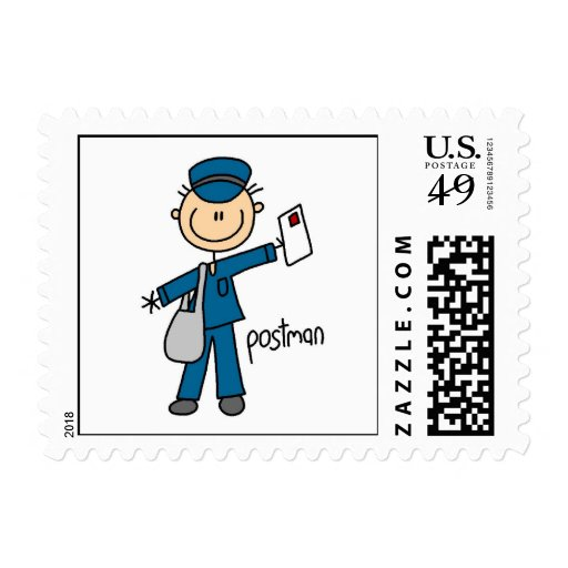 Postal Worker Stick Figure Stamp