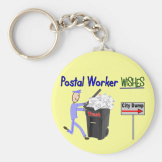 Postal Worker Wishes--Funny Basic Round Button Keychain