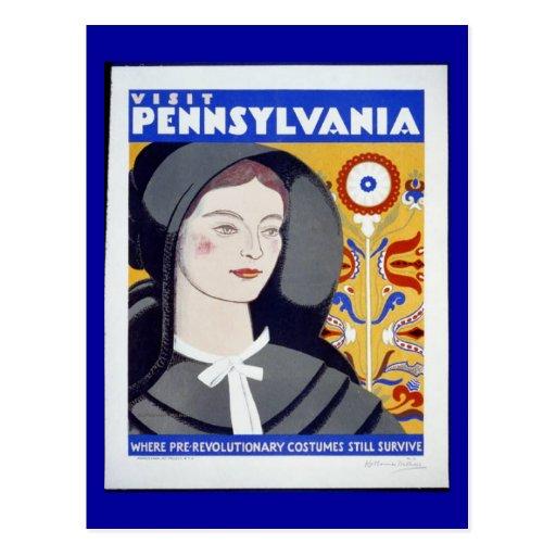 Postal-WPA-Visita Pennsylvania Tarjeta Postal