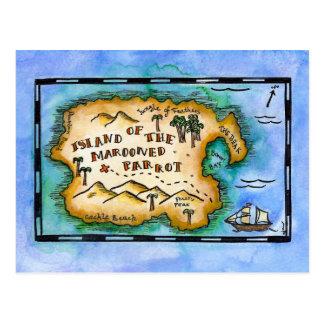 Postales abandonadas del mapa del tesoro del loro