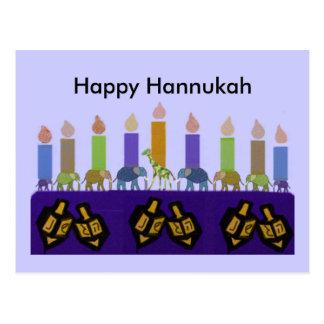 Postales animales de Dreidel Hannukah Menorah