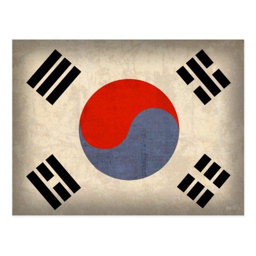 Postales apenadas bandera de la Corea del Sur